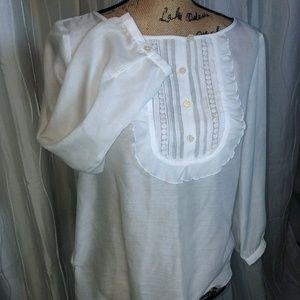 LOFT White Pilgrim Blouse - Sheer